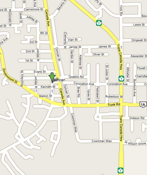 Map Of Duncan Bc Canada Matisse Day Spa   Duncan BC Canada, Hours of Operation